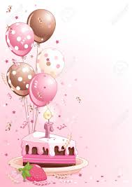 Clipart pink lustration of a Slice Birthday Cake With Balloons And Confetti Stock Vector