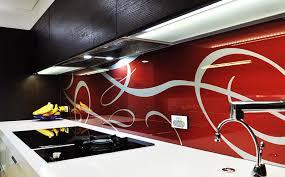 Red Swirl Kitchen Glass Splashback