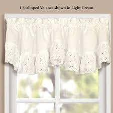Ruffle Blackout Curtain Panels by Vienna Ruffled Eyelet Scalloped Window Valance