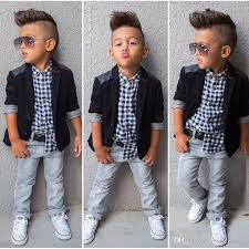 New Spring Boys Beautiful Jeans Wear Clothes Kids Suits Children Jacket Plaid Shirt Denim Pants Clothing Set Baby Boy Outfits