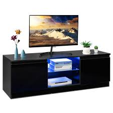 Costway Costway High Gloss TV Stand Media Console Cabinet W LED Shelves Modern For 50