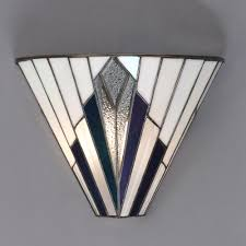 Tiffany Style Lamps Ebay Uk by Tiffany Art Deco Wall Light With White Blue Purple And Clear
