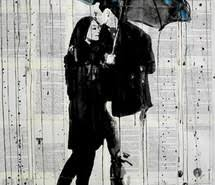 Blue Couple News Paper Painting Rain Umbrella Loui Jover