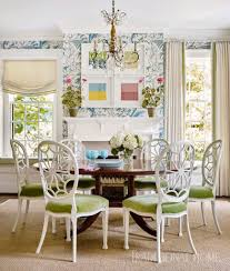 Bird Thistle Wallpaper Hepplewhite Chairs Dining Room Abstract Art