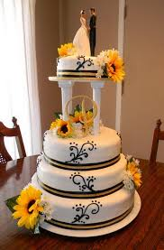 Columns Sunflower Wedding Cakes