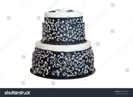 Elegant Black White Wedding Cake Isolated Stock Photo 118781545
