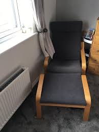 ikea poang chair and foot stool grey cushion attachment for both
