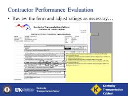 Ky Labor Cabinet Division Of Employment Standards by Kentucky Transportation Center Contractor Performance Evaluations