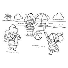 Playing Beach Ball Coloring Pages