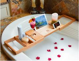 Bamboo Bathtub Caddy With Wine Glass Holder by Newest Design Bathtub Caddy Tray With The Biggest Extendable Sides
