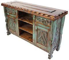 Green Patina Painted Wood Carved Floral Buffet With Scalloped Edge Top This