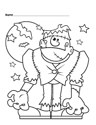 Frankenstein Halloween Monster And Bats Coloring Page