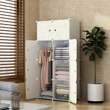 MAGINELS Closet Shelves Wardrobe Clothes Organizer Cube Storage Armoire Cabinet Dresser For Bedroom Portable Wood Grain 5 Cube 1 Hanging Section
