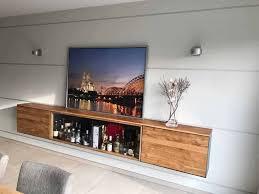 barschrank sideboard hängend holz eiche metall modern design glas stahlzart