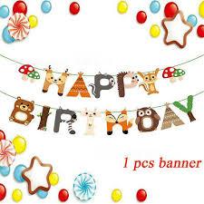 banner flaggen girlanden animal happy birthday buntings