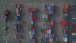 100 Shipping Containers California 5K Stock Footage Aerial Video Of Birds Eye View Of Port Of Oakland Shipping Containers Aerial Stock Footage DFKSF06_016 Axiom Images