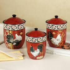 Kitchen Rooster Decor For The Ceramic Jars Books Napkin Wooden Fork