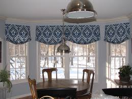 Geometric Pattern Window Curtains by Relaxed Roman Shade Valance In Ultra Marine Ikat Pattern Creates A