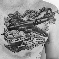 Banner With Heart Mens Plane Ww2 Traditional Old School Upper Chest Tattoo