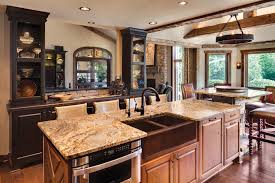 White Country Kitchen Design Ideas by Rustic Country Kitchen Design Ideas Granite Island White Kohler