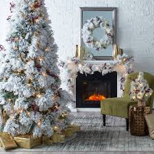 Flocked Downswept Christmas Trees by Belham Living 7 5 Ft Flocked Pine Needle Pre Lit Christmas Tree