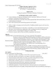 Laboratory Technician Resume Objective Lab Resumes Job