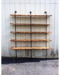 The Hemingway Wall Mount Bookcase Reclaimed Wood Bookshelf Pipe Shelf Built In Industrial Shelving