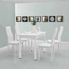 en casa essgruppe set 5 tlg esstisch mit 4 stühlen jørpeland küchentisch 120x60 cm kunstleder esszimmerstuhl weiß