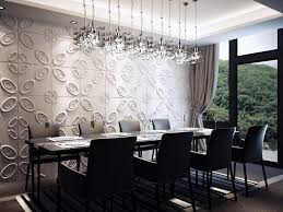 Dining Room Wall Decor With Embellished Pattern In Gray For Modern Stream Lined Furniture And Futuristic Pendant Lighting