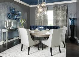 Contemporary Dining Room With Grey Walls And Modern Curtains Blue Accents