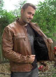 mens retro brown top grain buffalo hide cafe leather racer jacket