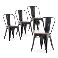 100 Modern Metal Chair Details About 4 PC Wood Seat Cafe Bar Home Stool Dining S Antique Black