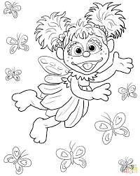 Free Printable Coloring Pages Sesame Street Characters Birthday Cad Flying Butterflies Full Size