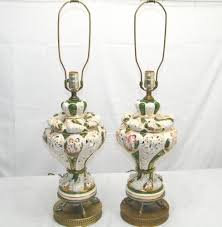 Stiffel Table Lamp Models by Pair Of Hollywood Regency Pinch Pleated White Drum Capodimonte