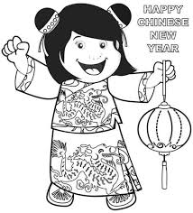 Chinese New Year Coloring Pages Little Girl