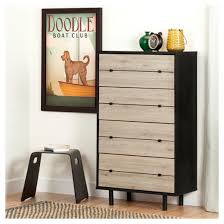 South Shore 6 Drawer Dresser Black by Morice Mid Century Vertical Dresser Black And Rustic Oak