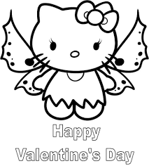 Happy Valentine Hello Kitty Coloring Pages