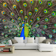 Beibehang HD Peacock Open Screen Photo TV Office Background Wall Painting Wallpaper Home Decorative For