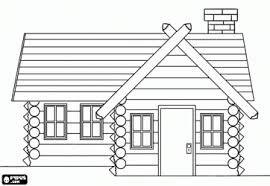 Wooden House Or Log Cabin Coloring Page