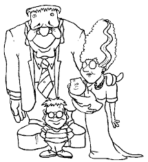 Frankenstein Family Monster Halloween Print Coloring Pages