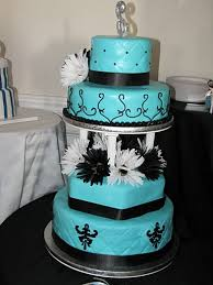 wedding cake in tiffany s blue white and black