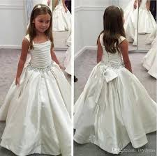 White Straps Flower Girl Dress With Beaded Waist First munion
