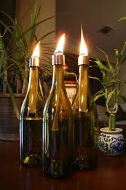 Citronella Oil Lamps Torches by Set Of 3 Brown Wine Bottle Indoor Oil Lamps Hurricane Lantern