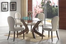 Dainty Chair And Glass Dining Room Tables On Smooth Carpet