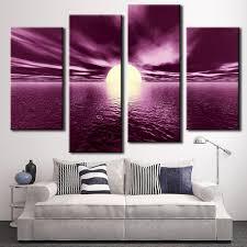 Famous 4 Pcs Set Pop Landscape Purple Wall Art Painting Prints On Canvas With