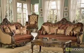 Great Formal Leather Living Room Furniture Traditional Sofa Set