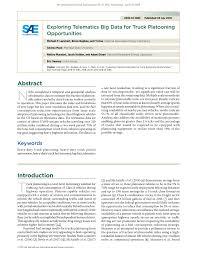 100 Big Truck Paper PDF Exploring Telematics Data For Platooning Opportunities