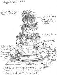Custom Wedding Cake Sketch Sketches Pinterest