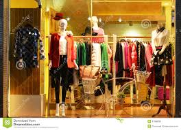 Fashion Boutique Display Window With Mannequins Store Sale Front Of Shop Stock