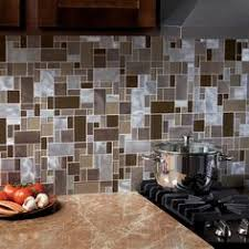 Thinset For Glass Mosaic Tile by Allen Roth Laser Contempo Beige Mixed Material Glass And Metal